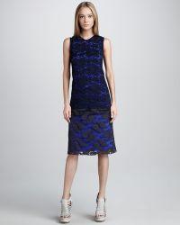 Vera Wang Dropwaist Chantilly Lace Dress - Lyst