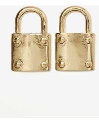 Nasty Gal Lock It Up Metal Earrings - Lyst