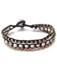 Aeravida - White Turquoise-brass Beads Chic Medley Three Strand Bracelet - Lyst