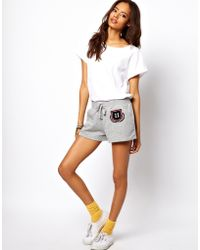 ASOS Collection Asos Runner Short with Collegiate Print and Towel Embroidery gray - Lyst