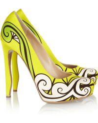 Nicholas Kirkwood Neon Printed Silksatin Pumps yellow - Lyst
