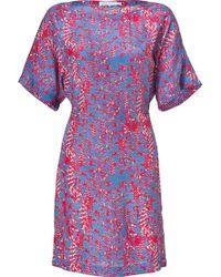 See By Chloé Pinkblue Printed Silk Dolman Sleeve Dress - Lyst