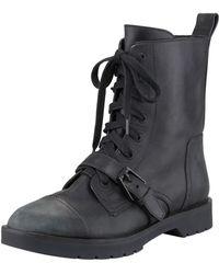 Alexander Wang Daria Distressed Leather Combat Boot - Lyst