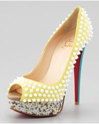 Christian Louboutin Lady Peep Spike Red Sole Pump - Lyst