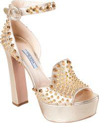 Prada Peep Toe Studded Platform Sandals gold - Lyst