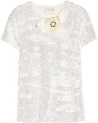 Lanvin Embellished Sequined Jersey Top - Lyst