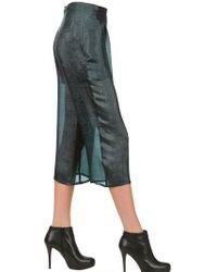 Minimarket Silk Crepe Lamè Cropped Pants - Green