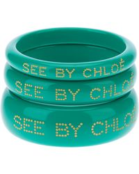 See By Chloé Trio Of Embossed Bangles - Green