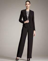 Giorgio Armani Textured Crepe Suit - Black