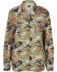 Topshop Gold Studded Camo Jacket - Lyst