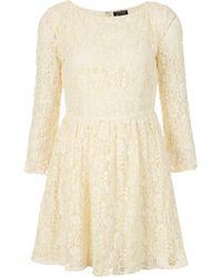 Topshop Crochet Lace Flippy Dress - Lyst