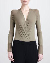 Donna Karan New York Long-sleeve Surplice Bodysuit - Lyst
