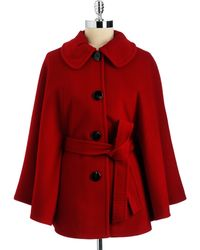 Ellen Tracy Belted Cape Coat - Red