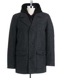 Guess Hooded Wool Pea Coat - Gray