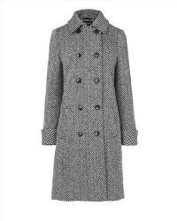 Jaeger Italian Wool Herringbone Coat - Lyst