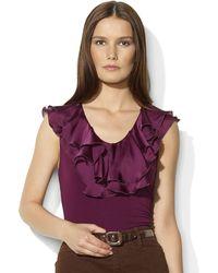 Lauren by Ralph Lauren Cotton Sleeveless Ruffled Top - Lyst