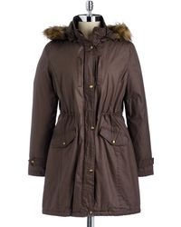MICHAEL Michael Kors Faux Furtrimmed Hooded Cotton Anorak Jacket - Lyst