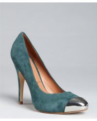 Sigerson Morrison Dark Teal Suede Metal Toe 'Monna Lisa' Pumps blue - Lyst