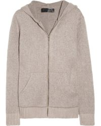 The Elder Statesman Plate Hooded Cashmere Top - Grey