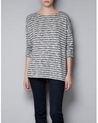 Zara Striped Devoré Sweater - Lyst
