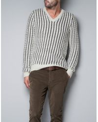 Zara Knitted Sweater with Stripes - Lyst