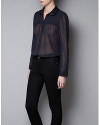 Zara Combination Collar Shirt - Lyst