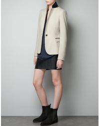 Zara Moleskin Blazer with Elbow Patches and Piping - Lyst