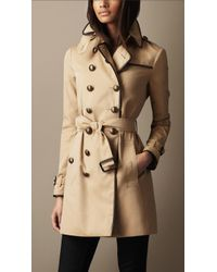 Burberry Brit - Midlength Cotton Gabardine Leather Detail Trench Coat - Lyst
