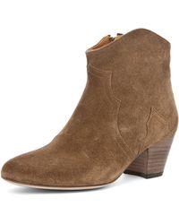 Isabel Marant Dicker Velvet Bootie in Camel brown - Lyst