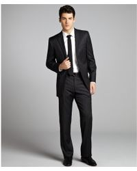 Joseph Abboud - Medium Grey Pinstripe Wool Two Button Suit with Flat Front Trousers - Lyst