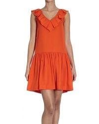 RED Valentino V Neck Sleeveless Cady Dress orange - Lyst
