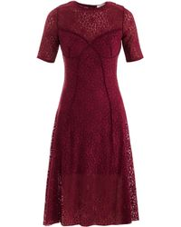 Nina Ricci Lace Kneelength Dress red - Lyst