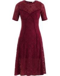 Nina Ricci Lace Kneelength Dress red - Lyst