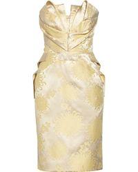 Zac Posen Silk-Blend Jacquard Dress gold - Lyst