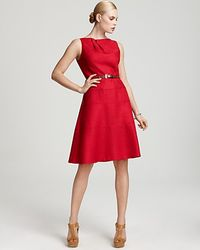 Anne Klein Belted Dress With Aline Skirt - Lyst