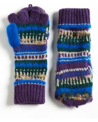 Juicy Couture Luxe Mixed Yarn Pop Top Mittens - Purple