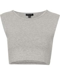 Topshop Basic Sleeveless Crop Top gray - Lyst