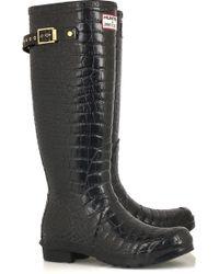 Jimmy Choo Crocodile-print Wellington Boots - Black