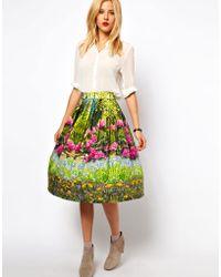ASOS - Midi Skirt in Spring Woodland Print - Lyst