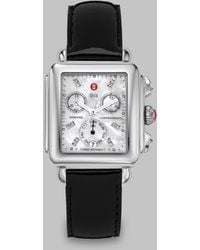 Michele Deco Diamond, Mother-Of-Pearl, Stainless Steel & Patent Leather Chronograph Strap Watch - Lyst