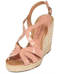 Palomitas By Paloma Barcelo' 110mm Patent Rope Sandal Wedges - Lyst