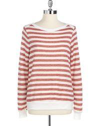 Red Haute Striped Side-Zip Sweater - Lyst