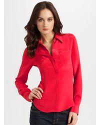 Theory Kianna Silk Buttondown Shirt - Lyst