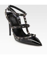 Valentino Noir Patent Leather Rockstud Slingback Pumps - Lyst