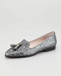 Miu Miu Tasseled Glitter Loafer - Lyst