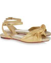 Charlotte Olympia Marina Metallic Brushed Canvas Sandals - Lyst
