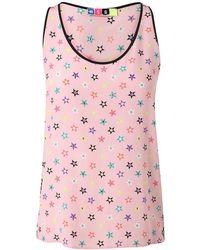 MSGM Star Printed Silk Tank pink - Lyst
