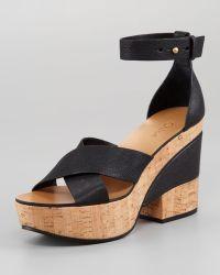 Chloé Crisscross Cork and Leather Platform Sandal - Black