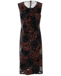 Dries Van Noten 3d Floral Plaid Silk Dress brown - Lyst