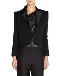 Lanvin Peak Shoulder Tux Jacket black - Lyst